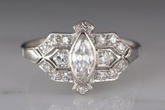 .75ctw Art Deco Platinum Engagement or Cocktail Ring with .55ct Marquise Cut Diamond Center