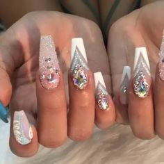 So pretty! Via @toplinenails  shop for featured Swarovski crystals and CrystalPixie at DAILYCHARME.COM!✨✨