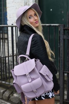 Lavender leather rucksack by Grafea www.grafea.co.uk