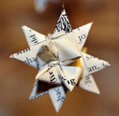 6 Recycled Vintage Book Moravian 2 Paper Stars Christmas Ornaments