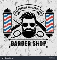 Barbershop Logo with barber pole in vintage style. Barber Shop Pole, Barber Shop Vintage, Barber Shop Decor, Barber Poster, Barber Sign, Barber Business Cards, Vintage Business Cards, Mobile Barber, Barber Shop Quartet