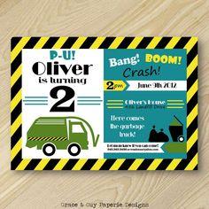 Garbage Truck Party - Trash Truck - Printable Invitation - Boy Birthday Party. $13.75, via Etsy.