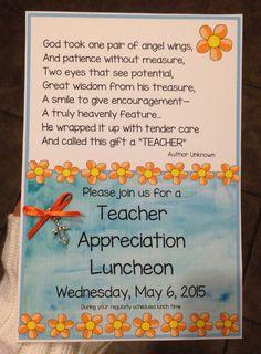 teacher appreciation lunch invitation wording