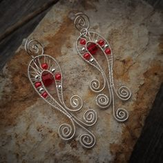 silver plated copper wire wrapped long red dangle earrings