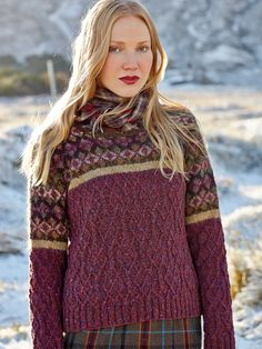 patterns to knit experienced | knit this womens cabled sweater with fairisle yoke from rowan knitting ...