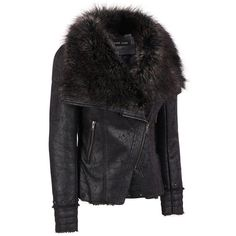 Black Rivet Studded Moto Jacket w/ FauxFur Collar ($370) ❤ liked on Polyvore featuring outerwear, jackets, studded biker jacket, slim biker jacket, studded motorcycle jacket, rider jacket and oversized jacket