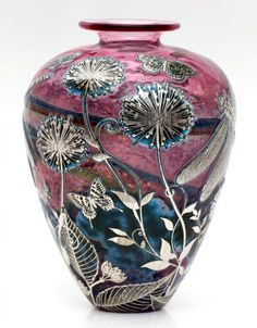 Reheat silver cameo Alium & Dragonfly glass vase 21cm tall x 15.5cm - Price: £895.00