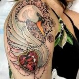 Beautiful Swan Tattoo Design for Women