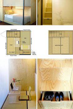 japanese portable living space  особенно примечательно, что наверху отдельное место для медитации - пустое.