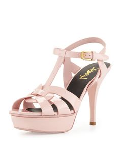Tribute Mid-Heel Patent Platform Sandal, Pale Rose by Saint Laurent at Neiman Marcus.