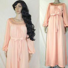 1970s peach goddess sequin encrusted prom dress  $78.00