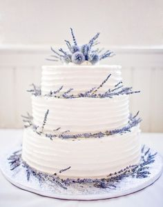 Lavender wedding cake, thistle cake decor, garden wedding ideas #2014 Valentines day ideas #rustic wedding ideas http://www.dreamyweddingideas.com
