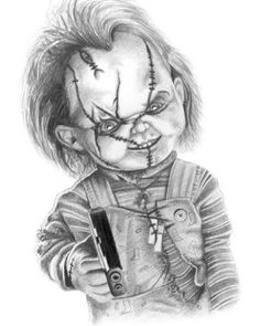 Scary Drawings, Dark Art Drawings, Tattoo Design Drawings, Horror Drawing, Graffiti Drawing, Chucky Drawing, Bugs Bunny Drawing, Chucky Tattoo, Horror Movie Tattoos