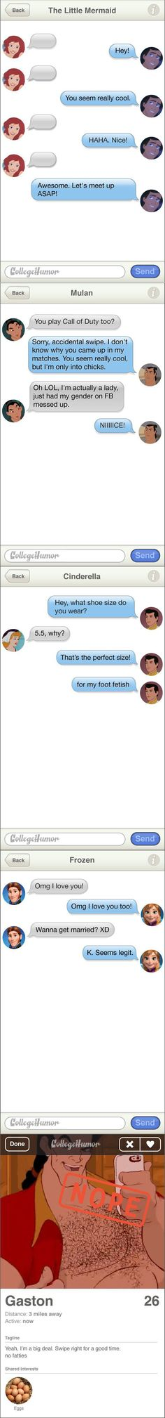If Disney Princesses Met Their Princes on Tinder