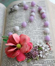 Vintage Lilac Pink Assemblage Collage Necklace. $48.00, via Etsy.