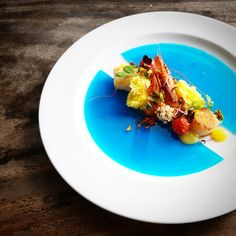Blue Swimmer Scallop l Snapper l Prawn l  Yuzu Fluid Gel l Yogurt Brioche l Blue Pea Flower Agar