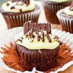Andes Mint Cupcakes By TasteSpotting -- see more at LuxeFinds.com