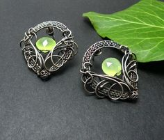 Telanis  silver wire wrapped earrings with by MadeBySunflower, $120.00
