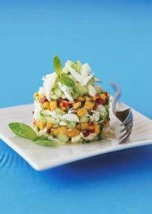 Tartare de mangue au crabe - Pelez le concombre et découpez-le en dés. Égouttez et émiettez la chair de…