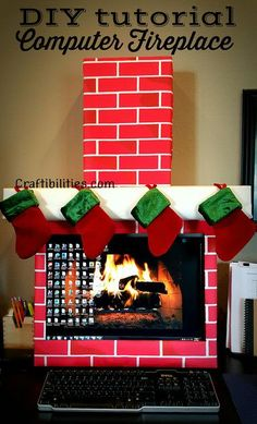 Craftibilities: Holiday Office IDEA - FIREPLACE computer - cubicle - fun DIY Christmas decorations