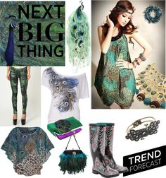 """Peacock trend"" by cocolavieenrose on Polyvore"