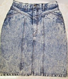 Vintage Bonjour Acid Wash High Waist Blue Jean Denim Skirt Sz Small  #bonjour…