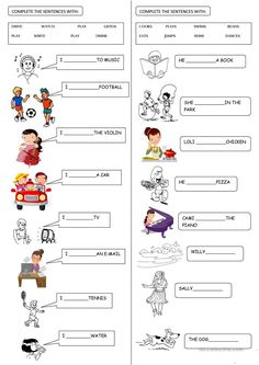 PRESENT SIMPLE for Beginners - English ESL Worksheets for distance learning and physical classrooms English Activities For Kids, English Grammar For Kids, Learning English For Kids, Teaching English Grammar, English Worksheets For Kids, 2nd Grade Worksheets, English Lessons For Kids, Kids English, Learn English Words