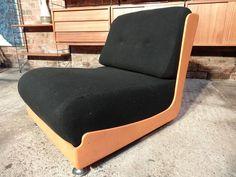 Plastic 'space age' fabric chair #space #orange #black #unusual #spaceage #lowangle #tbt #furniturefindingservice #vintage #retro #euvintage
