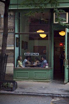 Cafe Moustache, west village, New York Cafe Bar, Cafe Shop, Deco Restaurant, Restaurant Design, Café Bistro, Deco Cafe, Architecture Restaurant, Village Photos, Shop Fronts
