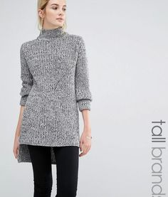 Brave Soul Tall Chunky Knit Jumper With High Neck – Grey/black twist. Tall Clothing for tall women at PrettyLong.com