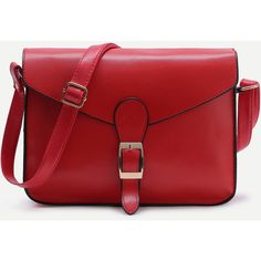 Contrast Trim Buckled Flap Bag (€17) ❤ liked on Polyvore featuring bags, handbags, pu handbags, red shoulder bag, red handbags and red purse