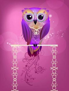 Purple owl... Love this little guy (w/o the necklace)