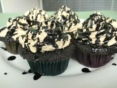 Recipe for dark chocolate cupcakes with hot fudge filling and peanut butter frosting