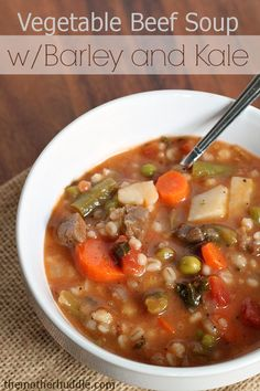 Vegetable Beef Soup with Barley and Kale Hearty and filling. Perfect dinner for a cold winter night ~ http://reallifedinner.com