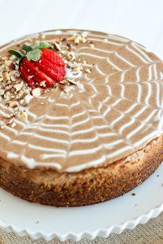 Healthy Chestnut and Hazelnut Cheesecake.