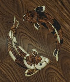 Close up of Koi Marquetry