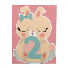 Bunny rocking 2nd birthday card