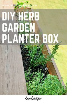 DIY Herb Garden Planter Box DIY Planter Box for your herb garden or spring flowers. This is great to hang over your deck or by your kitchen windows. Pin this easy DIY now so you can enjoy fresh herbs all summer long.