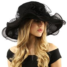 0231890b7b6 Fancy Classy Polka Dot Ruffle Kentucky Derby Floppy Ruffle Organza Hat