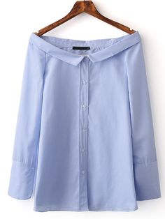 Shop Blue Boat Neck Stripe Buttons Front Blouse online. SheIn offers Blue Boat Neck Stripe Buttons Front Blouse & more to fit your fashionable needs.