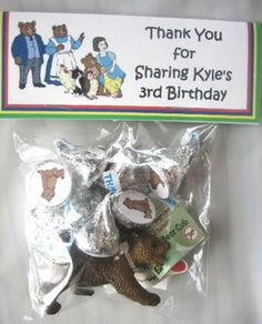 I made this party favors for my son's 3rd birthday.  The bag included Hershey Kisses with Little Bear stickers and a small bear figure.  I attached a personalized Little Bear topper to each goody bag.  Please visit my page for more Little Bear party supplies.