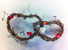 Double Heart Natural Grapevine Wreath with Wood by OldSoulArtisan