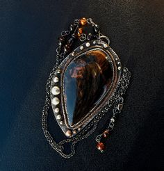 DrAgOn GLaSs OBSIDIAN Pendant Necklace With by MichaelaSagatovaArt, $115.00