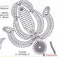 ru / Foto # 3 - rosas Plogskie e botões - Alleta Irish Crochet Tutorial, Irish Crochet Patterns, Crochet Lace Edging, Crochet Leaves, Crochet Motifs, Crochet Diagram, Freeform Crochet, Crochet Chart, Thread Crochet