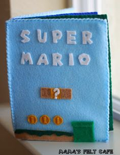 An upcoming family vacation has sent me searching for ways to entertain my 3 year old on a plane. Enter the Super Mario Quiet Book. Mario Crafts, Geek Crafts, Baby Crafts, Kid Crafts, Felt Books, Quiet Books, Felt Patterns, Sewing Patterns, Book Projects