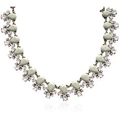Passiana Mint Crystal Bib Necklace ($249) ❤ liked on Polyvore featuring jewelry, necklaces, crystal jewelry, crystal jewellery, clear crystal necklace, clear necklace and bib necklaces