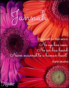 hijabiz:    ' There will be that which no eye has seen, no ear has heard and has never occurred to a human heart'[Sahih Muslim]Describing jannah..Muhasabah and take into account each good deed and bad deed.. subhanAllahJannah is far awayBut His Mercy is beyond my sinsThat's for sure