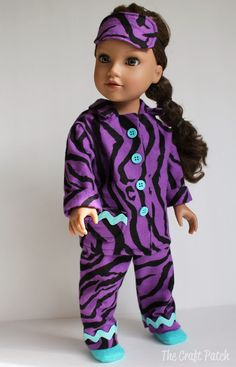 American Girl Doll Pajamas. with link to free pattern