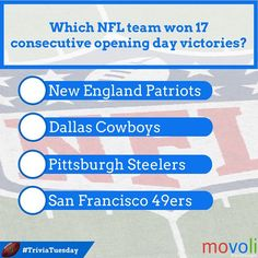 Which #NFL team won 17 consecutive opening day victories? #TriviaTuesday