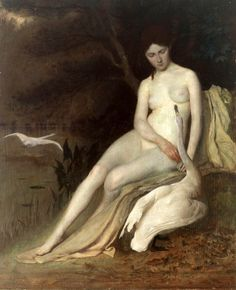 George de Forest Brush (1855 – 1941, American)Leda And The Swan